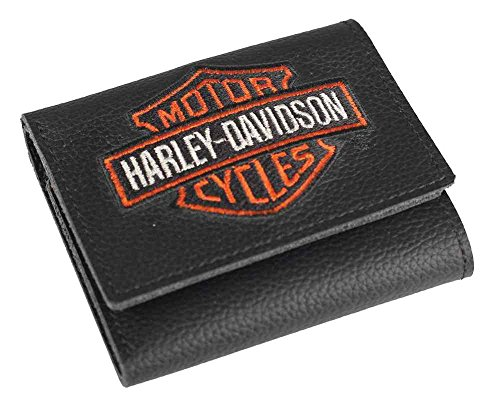Harley-Davidson Men's Embroidered Bar & Shield Tri-Fold Wallet, XML4363-ORGBLK