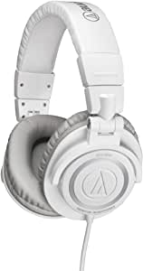 Audio Technica ATHM50 Studio Monitor Headphones  with Coiled Cable - White