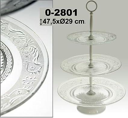 DonRegaloWeb - Frutero de metal y bandejas de cristal de 3 pisos en color blanco y