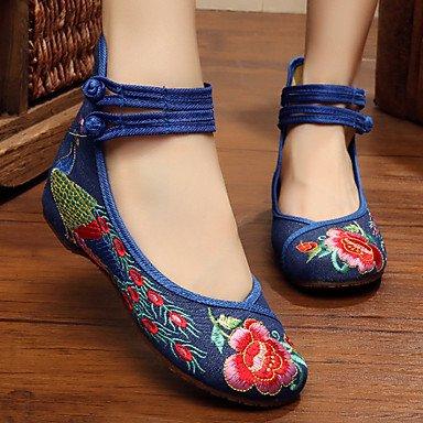 Cómodo y elegante soporte de zapatos de la mujer zapatos lienzo primavera/verano/otoño Mary Jane/comodidad Flats Casual soporte de talón hebilla/Flores Negro/Azul beige