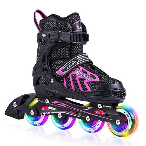 2PM SPORTS Brice Pink Adjustable Illuminating Inline Skates with Full Light Up Wheels, Fun Flashing Roller Skates for Girls - Pink L