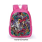 Freedom Drum Side Table Children Schoolbag Cute Animal Cartoon Custom,Music Themed Hand Drawn Abstract Instruments Microphone Drums Keyboard Stradivarius Multicolor,15.7inch,Fashion Lightweight School Backpack