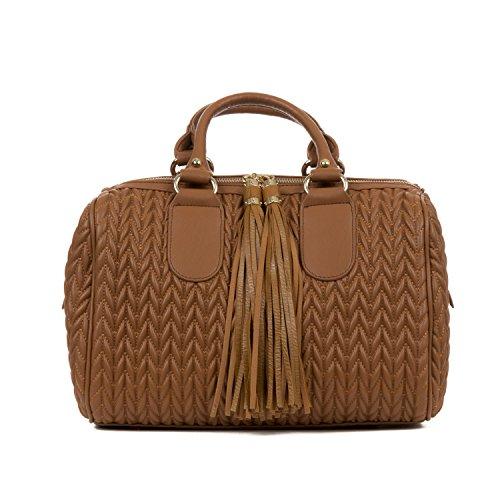 Handbag Republic Womens Vegan PU Leather Top Handle Handbag Tube Satchel Style Two Tassel Zipper Closure (Light Brown)