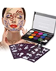 Maquillage Enfant, Xpassion Maquillage de Fête Non-Toxiques 15 Couleurs+ Pinceau pour Halloween Parade Party Déguisements, Kits de Body Painting