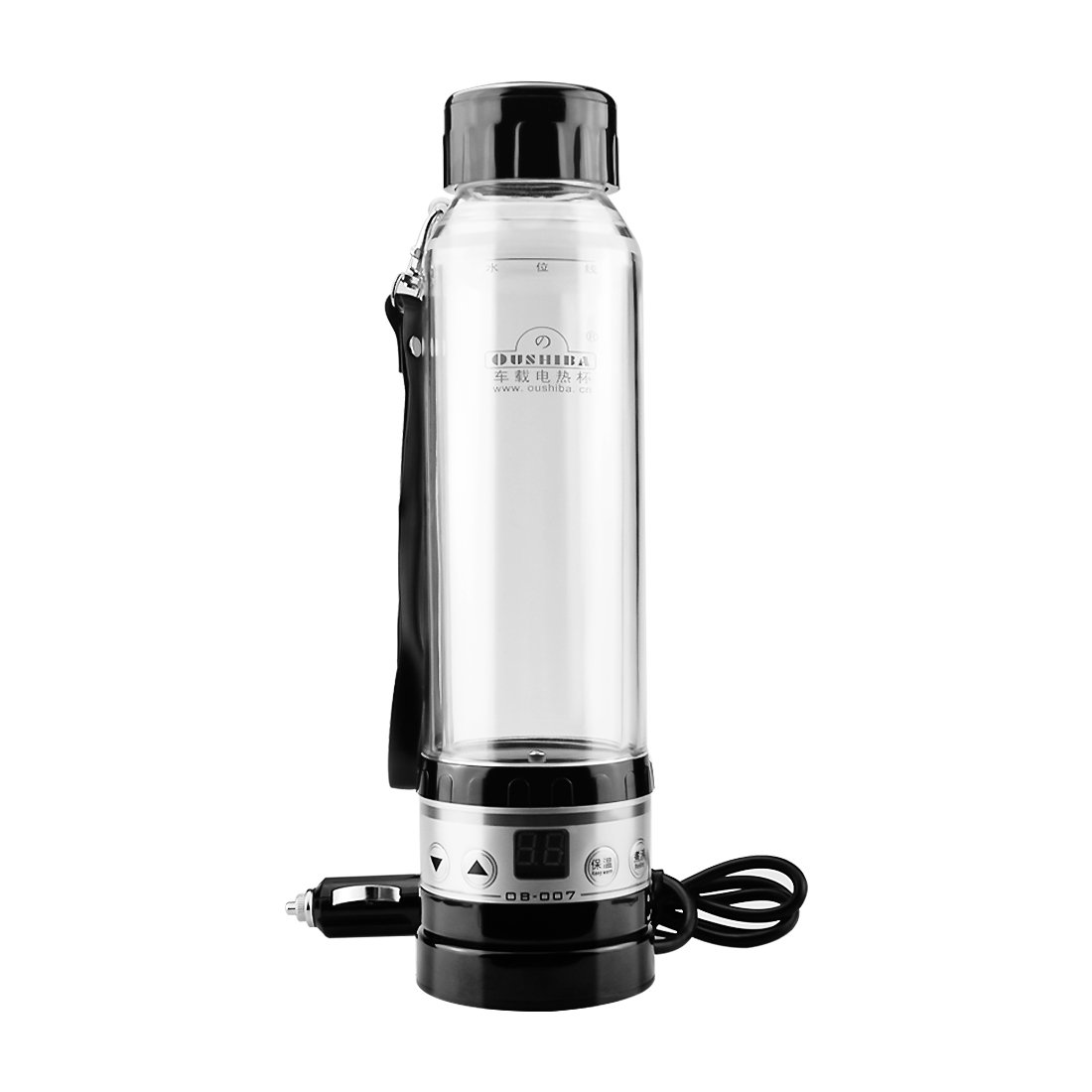 CarBoss Car Electric Kettle Heating Cup 12V 24V Volt Smart Auto Travel Mug Water Boiling Cofee Milk Tea Heater Warmer Thermos Bottle 280ML Cigarette Lighter Charger Black Gold Silver (Black)