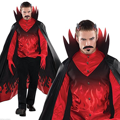 [Adults Men's Diablo Red Devil Satan Halloween Fancy Dress Party Costume (Standard)] (Flame Hair Costume)