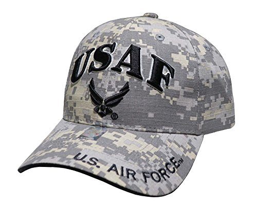 (US Air Force Embroidered Military Baseball Cap Hat (USAF Text and Wing Universal))
