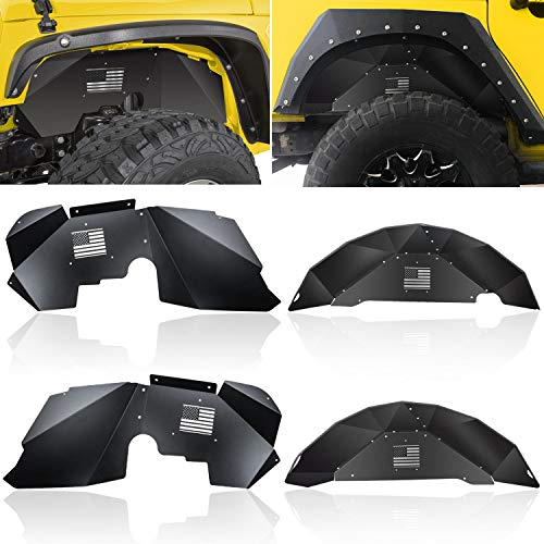 OPALL Fit Jeep Wrangler Front &Rear Inner Fender Liners for 2007-2018 2 Door & 4 Door Jeep Wrangler JK 4WD US Flag Logo Lightweight Aluminum Design Black ()