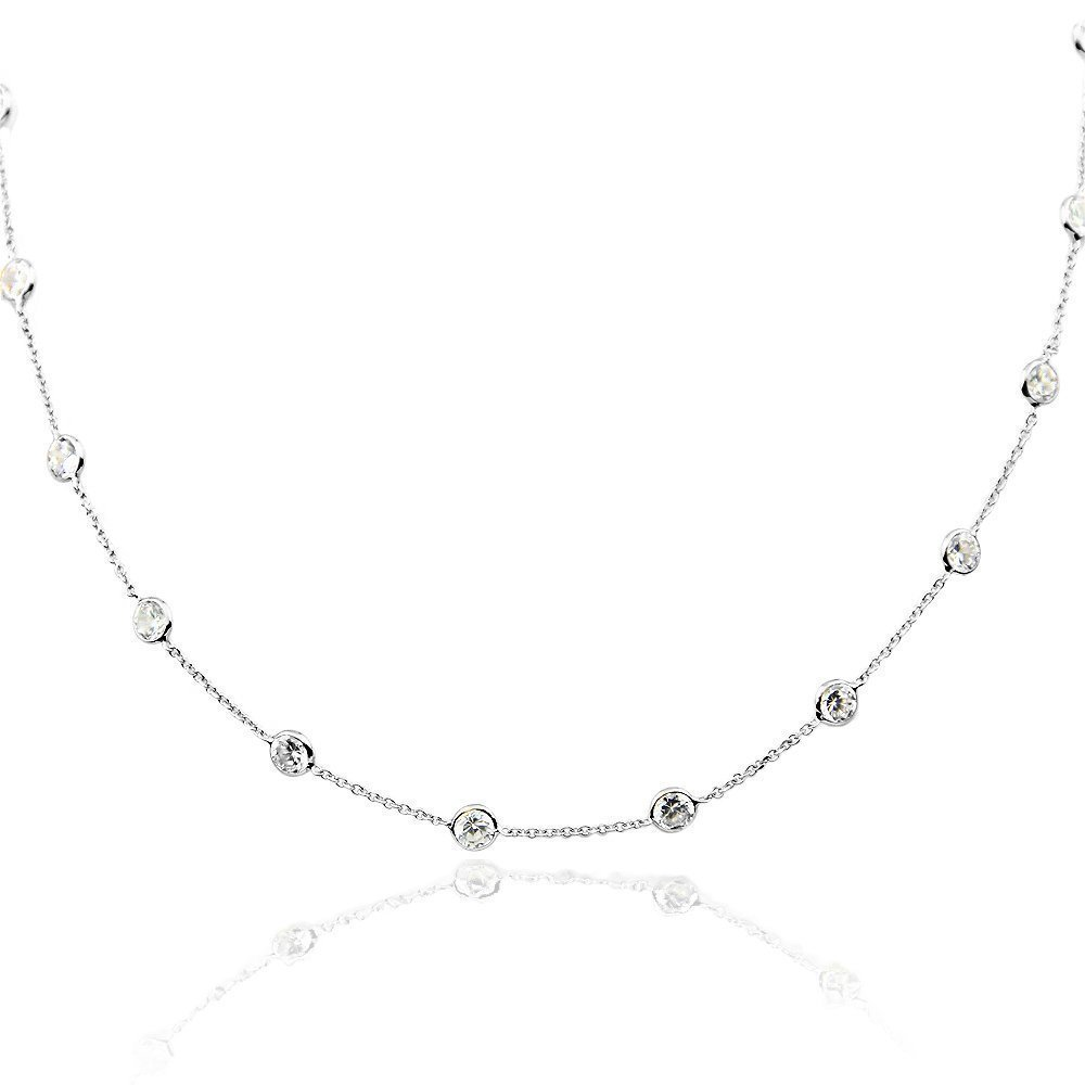 14K White Gold Handmade Station Necklace With 4 MM Cubic Zirconia (16, 17, 18, 20, and 24 Inches)
