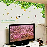 Cinlla Wall Stickers Green Spring Vine Leaf Top Ceil Ceilling Love Life Vinyl Decal Wall Sticker for Classroom Window Living Room Home