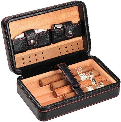AMITD Humidor de Puros de Piel de Cedro móvil humidificador Set de Regalo de Caja de Soporte 4 Tubos, Negro: Amazon.es: Hogar