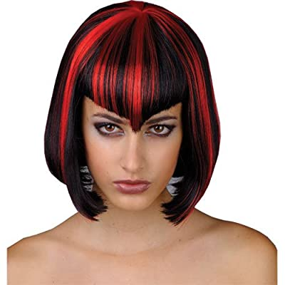 Halloween Vampiress Bob Wig Black & Red