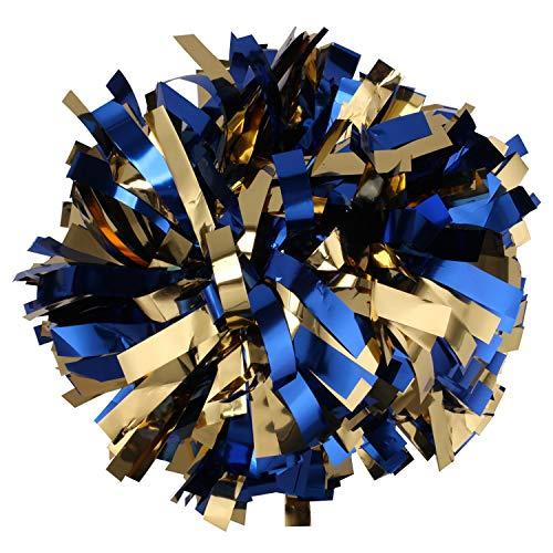 Pack of 2 Cheerleading Metallic Foil & Plastic Pom Poms Cheerleading Poms (Gold Navy Blue) ()