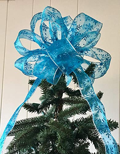 Sheer Aqua Glittered Snowflake Tree Topper Bow Large/The Frosty Collection/Custom Bows by Jami