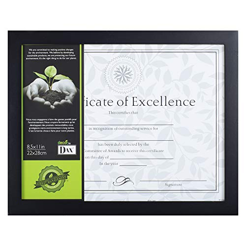 Dax 8.5x11 Flat Black Environmentally Friendly Wood Composite Document Frame, Wall or Table Top Display ()