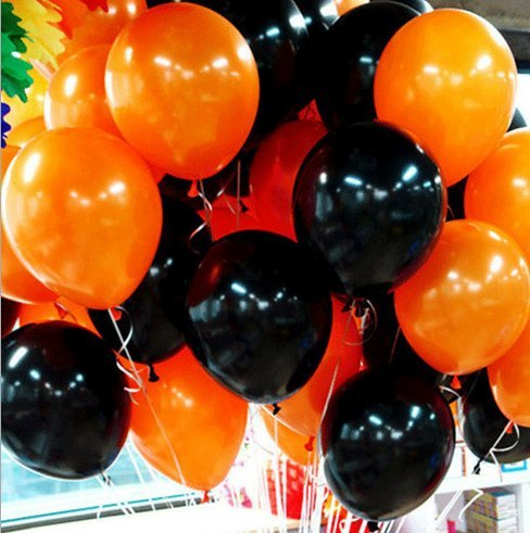 Black And Orange Party Decorations (Halloween Balloons,10 Inches Black and Orange Latex Balloons for Happy Halloween's Day, New Year Eve, Wedding, Baby Shower, Birthday or Holiday Season Party Decoration, 100 per Unit (Black and Orange))