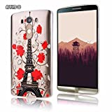 AllDo Soft Case for LG G3 TPU Silicone Cover Transparent Crystal Clear Case Flexible Slim Phone Skin Thin Smooth Shell - Eiffel Tower&Red Rose