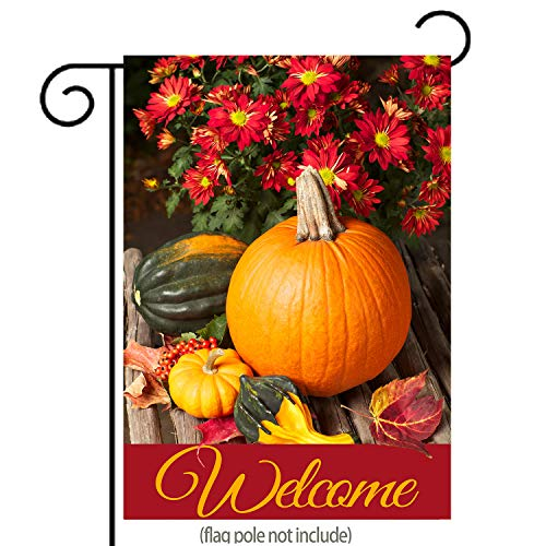 Welcome Fall Garden Flag Pumpkins and Autumn Flowers | Doubl