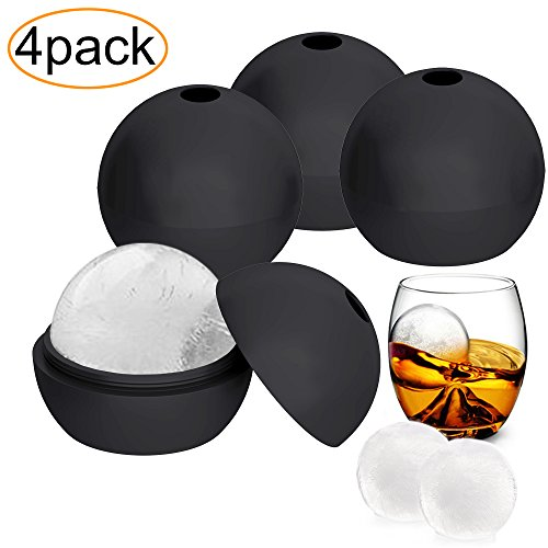 4 Pack Flexible & Durable Silicone Sphere Round Ice Cube Molds, Makes 2 Inch Ice Balls