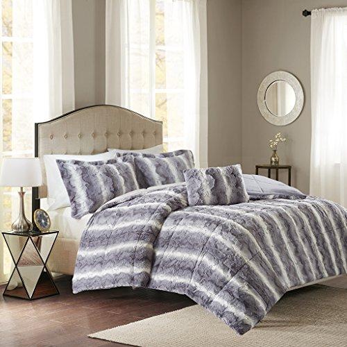 Madison Park Zuri King Size Bed Comforter Set - Grey, Animal – 4 Pieces Bedding Sets – Faux Fur Bedroom Comforters
