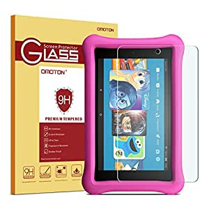 OMOTON Tempered Glass Screen Protector for All-New Fire HD 8 / Fire HD 8 Kids Edition Screen Protector (2018/2017 Release)