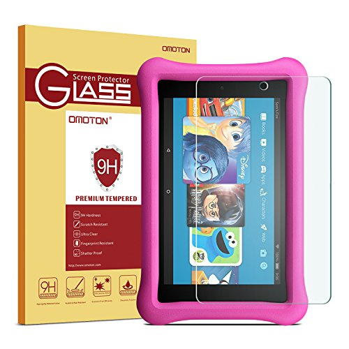 All-New Fire HD 8 Kids Edition Screen Protector - OMOTON Tempered Glass Screen Protector with [High Definition] [Bubble Free] for All-New Fire HD 8 Kids Edition Tablet 8 Inch (2017 Released)