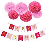 KOKER HAPPY BIRTHDAY BANNER, POMPOM DECORATIONS - Perfect Party Supplies Kit, Hot Pink, Pastel Light Baby Pink, White Gold Foiled Bunting Flag Garland, Tissue Paper Fluffy Flower Pom Poms, Girl Boy