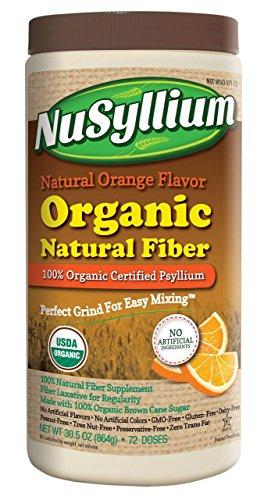 NuSyllium Orange Flavor 100% USDA Certified Organic Psyllium Husk, 72 Dose - Certified Organic Fiber
