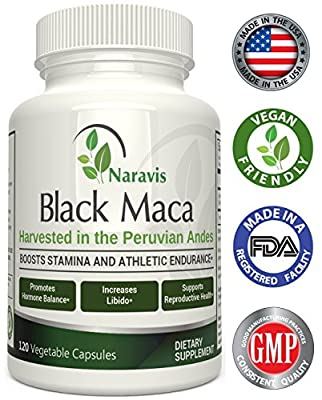 Naravis Gelatinized Black Maca Root - 1000mg Serving - 120 Veggie Capsules - 100% Pure Organic Lepidium Meyenii from the Andes of Peru - Non-GMO Vegan and Gluten Free Herbal Supplement