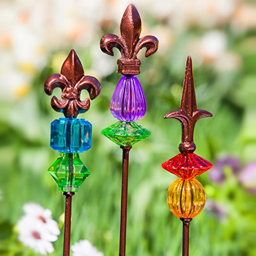"CEDAR HOME Garden Stake Outdoor Plant Pick Cute Metal Stick Fleur de Lis Art Ornament Decor for Lawn Yard Patio, 2.25"" W x 2.25"" D x 25"" H, 3 Set"
