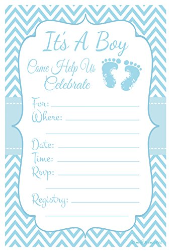 Feet Invitations (Blue Baby Feet - Boy Baby Shower Invitations - Fill In Style (20 Count) With Envelopes)