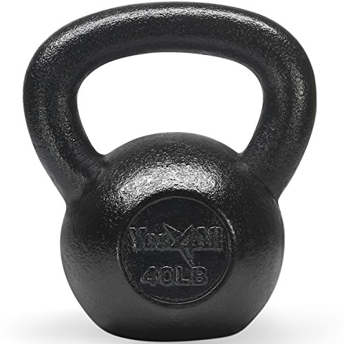 Yes4All Solid Cast Iron Kettlebells – Weight Available: 5, 10, 15, 20, 25 to 80 lbs (K - Black 40lb) by Yes4All (Image #7)