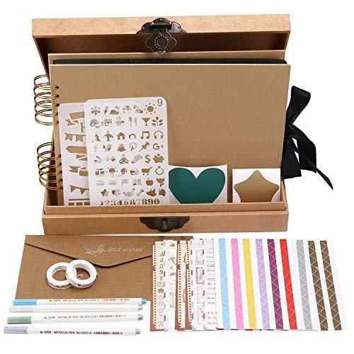 INNOCHEER Scrapbook Classic Photo Album Storage Box, 80 Pages Craft Paper DIY Anniversary,, Wedding Photo Album DIY Accessories - Album Scrapbooking Kit Page