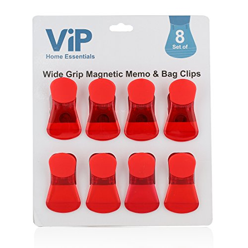 VIP Home Essentials - Wide Finger Grip With Comfort Cover - Versatile All-Purpose Food Bag & Fridge Magnet Clips - Set of 8 - Red Red Refrigerator Magnet