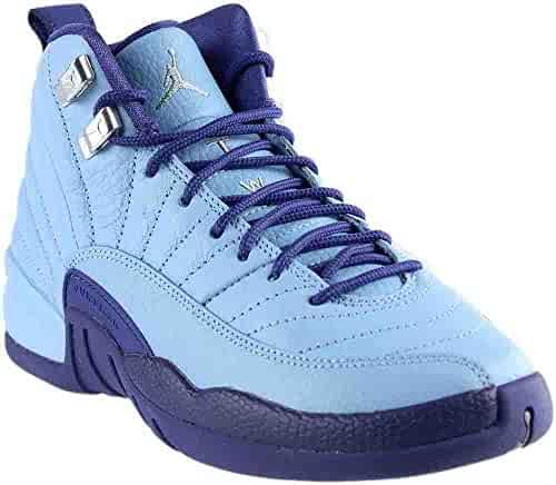 cheaper d19af 0d81a Nike Girls Air Jordan 12 Retro GG Purple Dust Blue Cap Silver Size 5Y