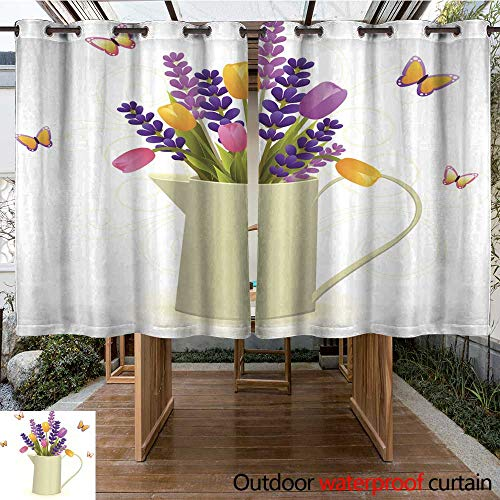 RenteriaDecor Outdoor Balcony Privacy Curtain Pitcher with Flowers W55 x L72