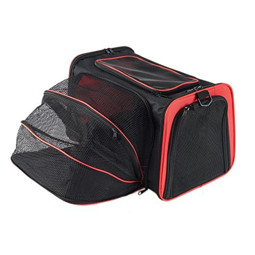 Expandable Travel Dog Carrier with Fleece Mat, Most Airline Approved Pet Carrier for Easy Carry on Luggage, Soft Sided Flodable Cat Carrier with Pockets to Store Goods