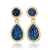 ZENGORI 18K Gold Plated Round and Drop Natural Agate Titanium Druzy Stud Earrings Paved Crystal Zircon