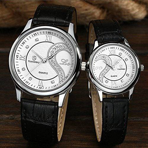 Ultrathin Leather Romantic Pair His and Hers Wrist Watches Sets for Couples White Set of 2 by DREAMING Q&P (Image #5)