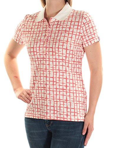 s Knit Printed Polo Top Orange XL ()