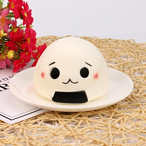 Lotus.flower Exquisite Cartoon Japanese Onigiri (Rice Balls) Squeeze Toy Mysterious Scented Slow Rising Stress Reliever Relaxing Gadget For Kids and Adults (A)