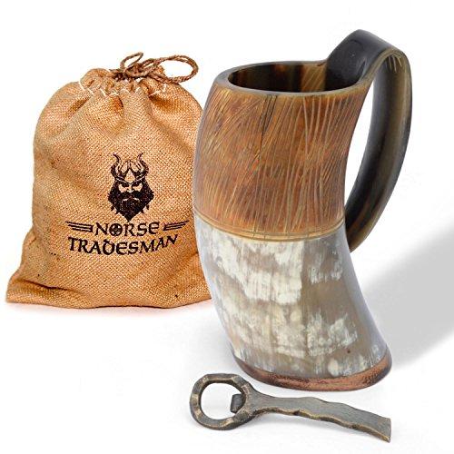 Norse Tradesman Genuine Viking Drinking Horn Mug w/ Medieval Bottle Opener - The ''Jarl'' Bundle by Norse Tradesman