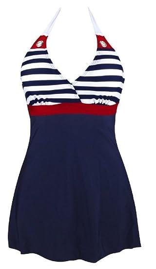 c8c613e2b00 AMOMA Women Vintage One Piece Swimsuit Navy Stripe Sailor Swimwear with  Falsies at Amazon Women's Clothing store: