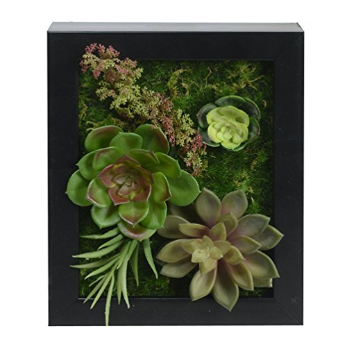 7.87 in * 9.84 in, 3D Wall Hanger Atificial Flowers Imitation Wood with Frame Shape Vase Succulent Plants Home Decorations for Wedding, Black frame