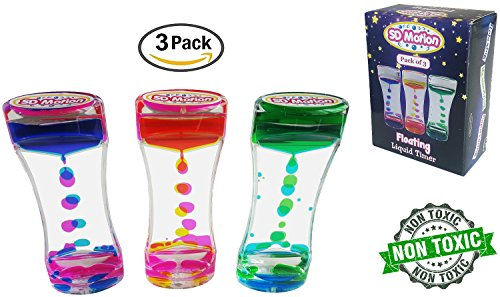 SD Motion - Floating Liquid Motion Bubbler Timer - Pack of 3 || Novelty & Fun Fidget Toy || Calm & Relaxing Desk Toy || Suitable for Anxiety, Autism Sensory Toys, ADHD Play