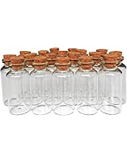 Mingze 20 stuks 20 ml kleine glazen flessen monsterglazen met kurk, kurksluiting, glazen flesjes kurkflessen voor doe-het-zelf decoratie