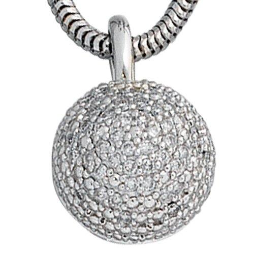 Pendentif en or blanc 585 50 0,25ct diamants.