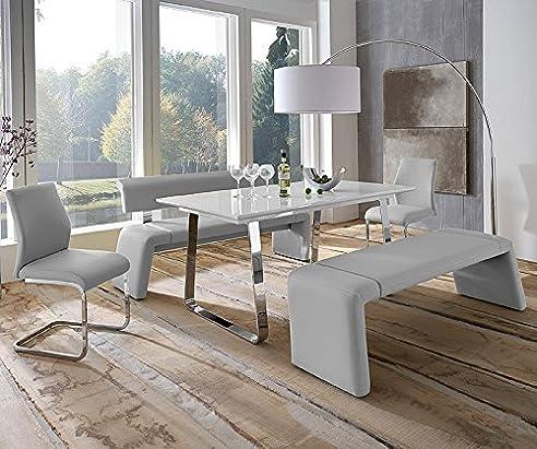 Komplett Esszimmer Set Hochglanz weiß Kunstleder grau Esstisch ...
