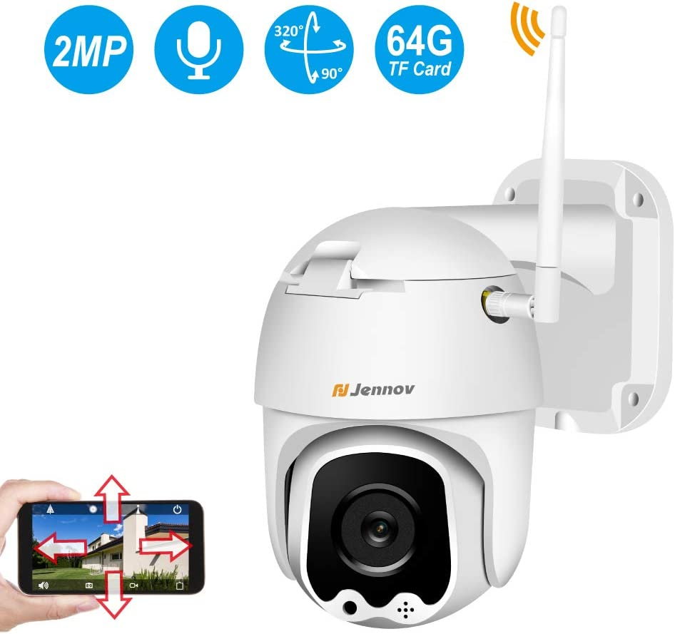 WiFi Camera Outdoor 1080P, Jennov Wireless IP Security Camera with Pan Tilt Two Way Audio Night Vision and Motion Detection Pre-Installed 64G Micro SD Card Waterproof Remote View
