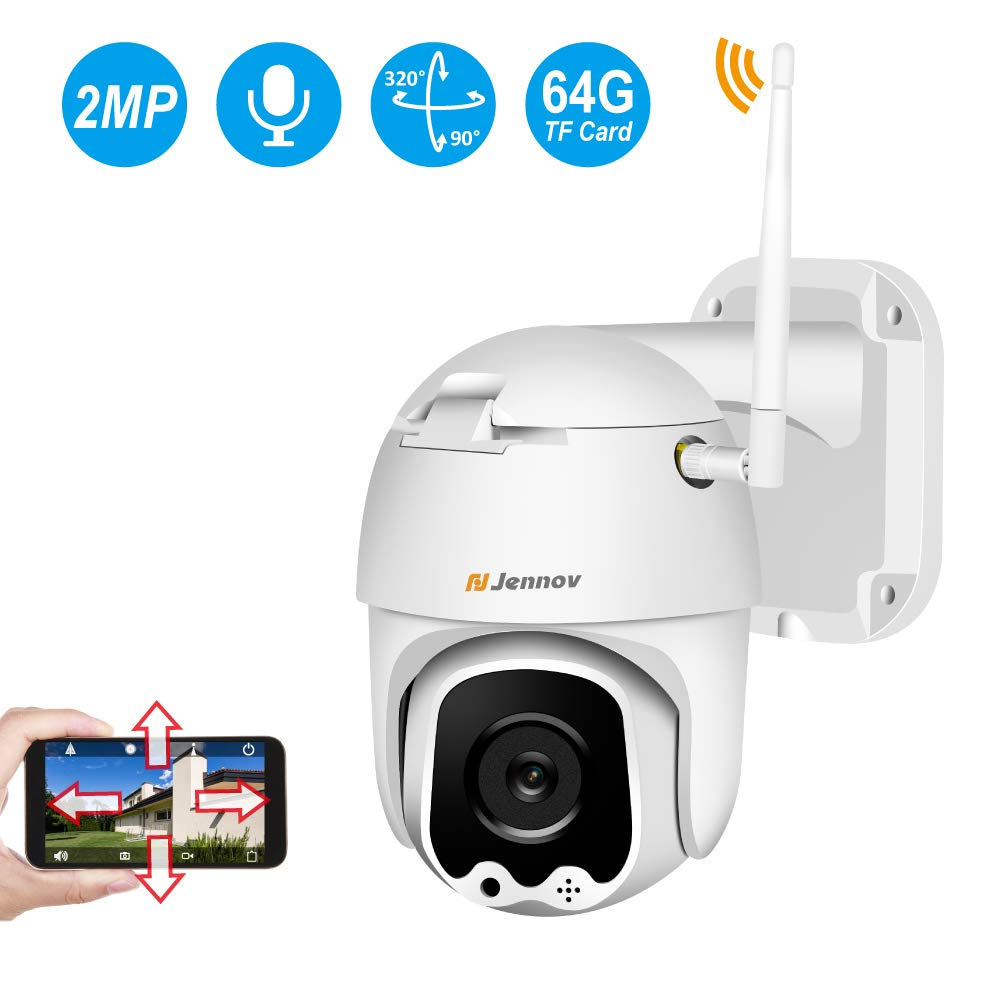 WiFi Camera Outdoor 1080P, Jennov Wireless IP Security Camera with Pan & Tilt Two Way Audio Night Vision and Motion Detection Pre-Installed 64G Micro SD Card Waterproof Remote View by Jennov